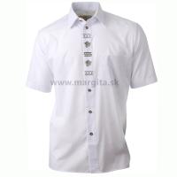 Pánska košeľa DUBOVÝ LÍSTOK - biela, krátky rukáv