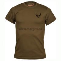 Pánske tričko MARGITA s krátkym rukávom, hnedé - jeleň hlava